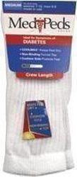 MediPeds® Diabetic Crew Socks Unisex, White, Medium