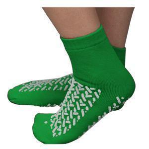 Double Tread Patient Safety Footwear XXL, Green, Exterior Terrycloth