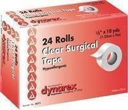 Dynarex Hypoallergenic Transparent Surgical Tape, Highly Porous, Latex Free 1/2