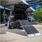 "Product Photo: E-Z Access Trifold® Wheelchair Ramp 10 Ft x 29"" x 3"", Aluminum, Weight Capacity 700 lb, Non-skid Surface, Built-in carrying Handle"