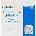 "Product Photo: ReliaMed Sterile Latex-Free Hydrocolloid Dressing with Film Back and Beveled Edge 2"" x 2"" - Item #: ZDHC22B"
